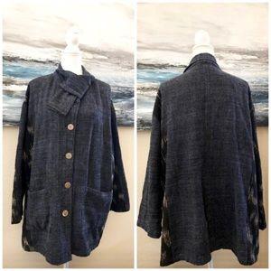 Yasuko Kurisaka Blue Black Cotton Button Jacket